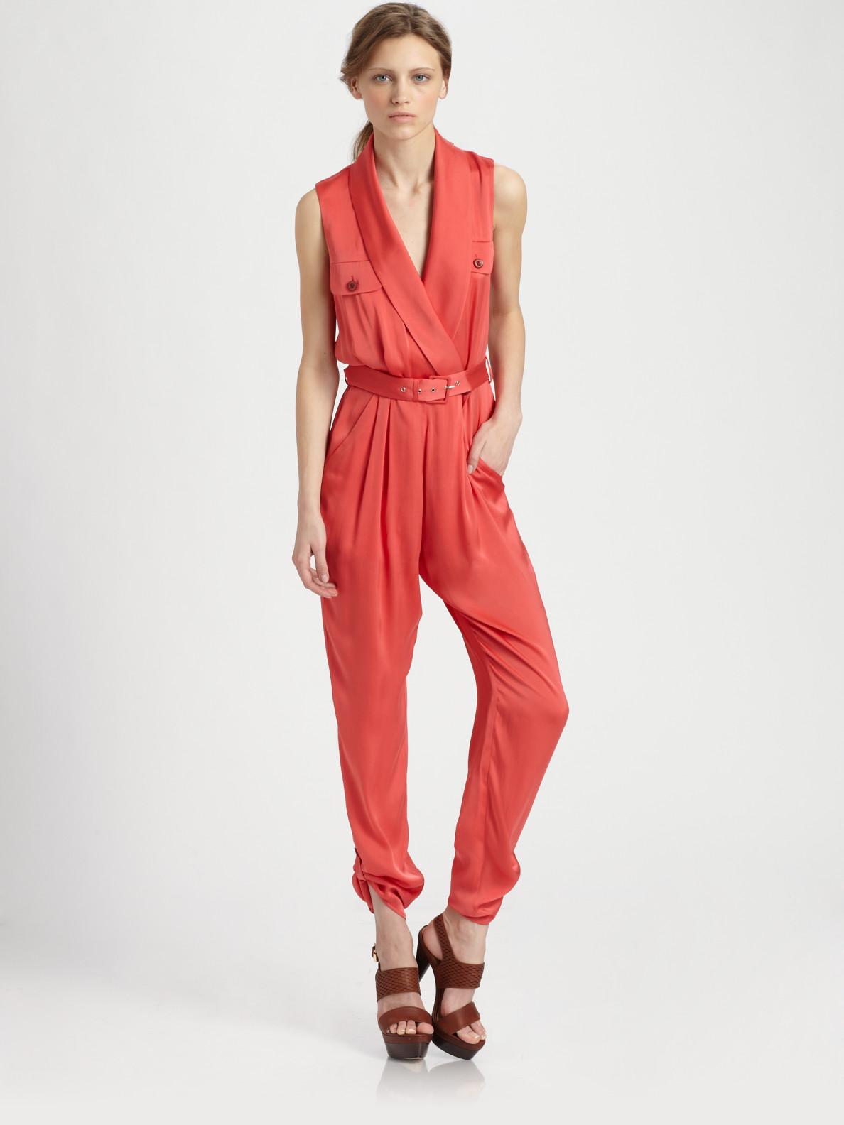 799a21b07e28 Lyst - Rachel Zoe Edith Shawl Collar Jumpsuit in Red