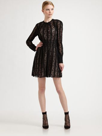 RED Valentino Crepe Jersey Lace Dress - Lyst