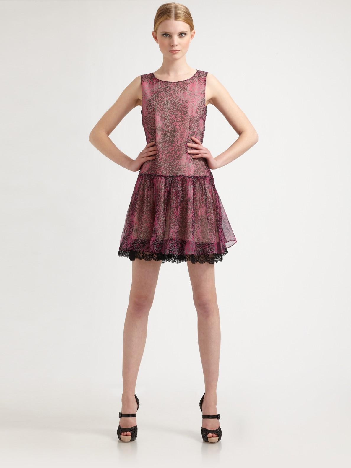 Lyst - RED Valentino Leopard Print Silk Dress in Pink ac34dfa0d