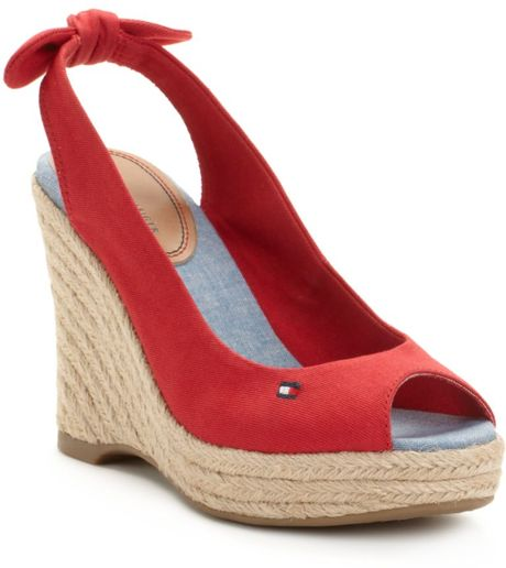 Tommy Hilfiger Hillary Espadrille Wedge Sandals in Red