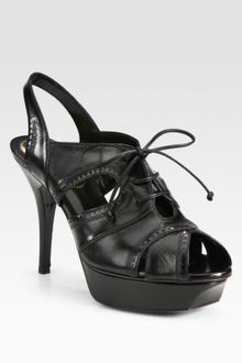 Yves Saint Laurent Leather Laceup Slingback Sandals - Lyst