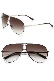 Yves Saint Laurent Logo Accented Metal Aviator Sunglasses - Lyst
