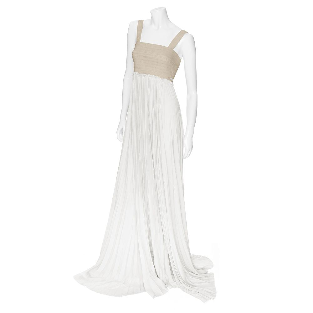 A L C Exclusive Elastic Pleated Maxi Dress In Beige