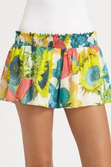 Alice + Olivia Smocked Silk Play Shorts in Multicolor (sunflower) - Lyst