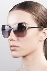 Gucci Butterfly Temple Rimless Sunglasses - Lyst