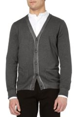 Lanvin Stone Washed Cashmere Cardigan in Gray for Men - Lyst