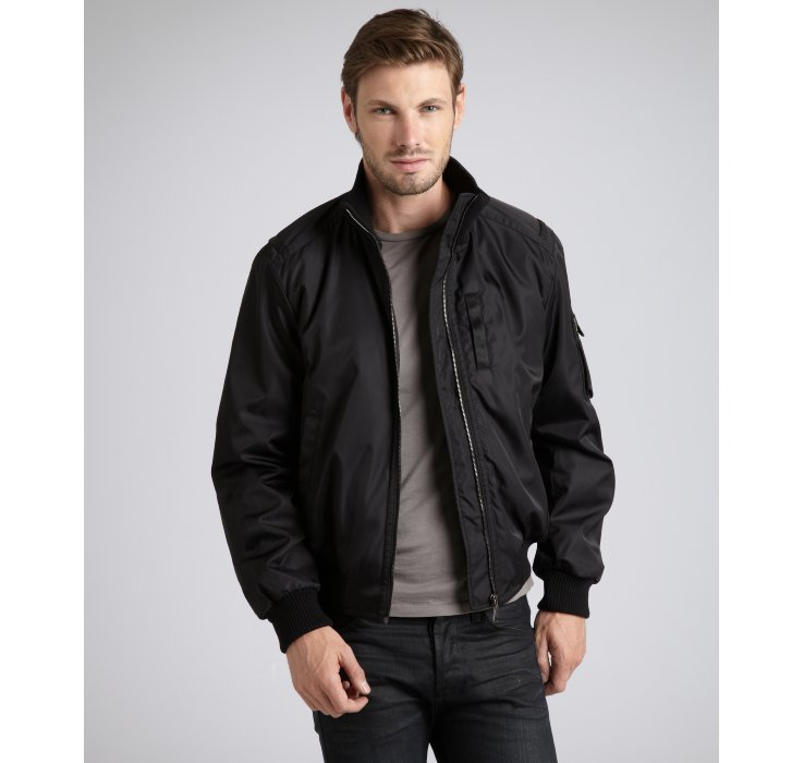 Lyst Prada Black Nylon Zip Front Bomber Jacket In Black