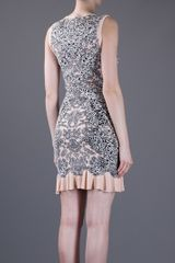 Alexander Mcqueen Jacquard Ruffle Dress in Gray (pink) - Lyst