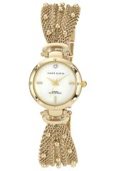 Anne Klein Womens Diamond Accent Gold Tone Studded Mesh Bracelet 23mm 10 - Lyst