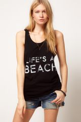Asos Collection Vest with Lifes A Beach in Black - Lyst