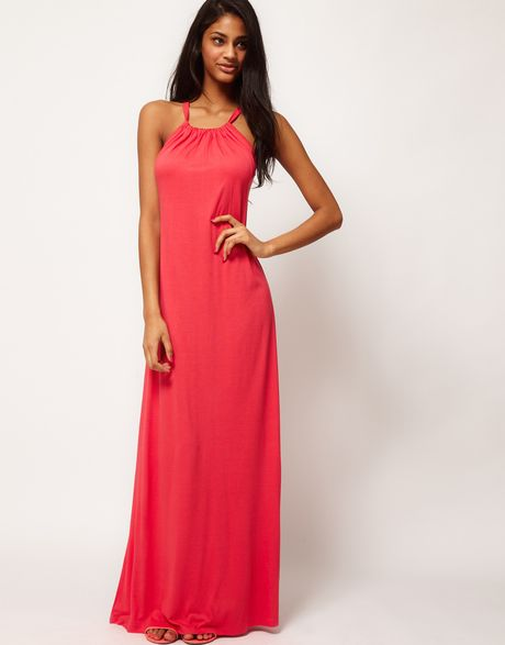 Asos Collection Maxi Dress with Halter Neck in Pink (coral) - Lyst
