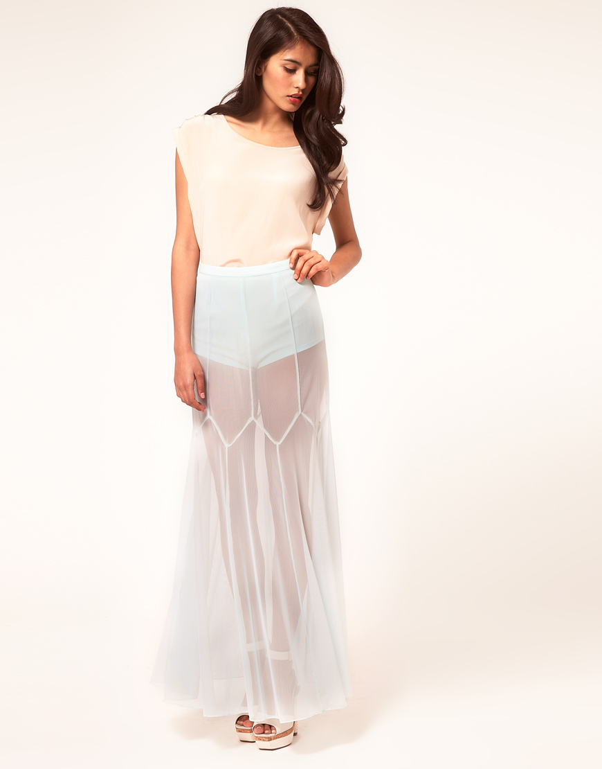 Asos Maxi Skirt in Mesh with Knicker Shorts in Blue | Lyst