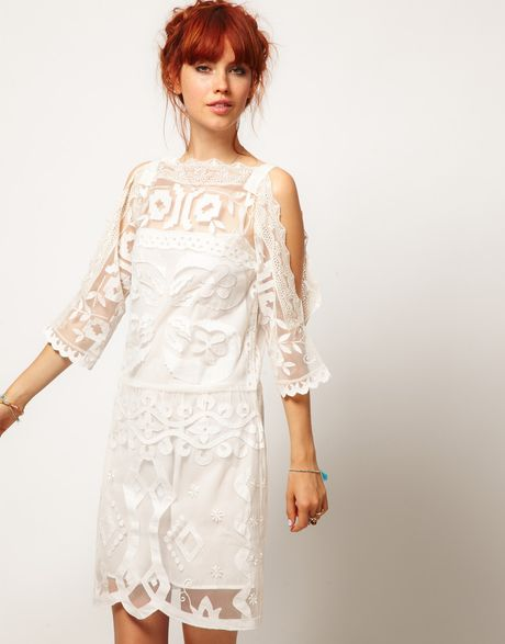 Asos Asos Salon Shift Dress with Cutwork in Beige (cream)