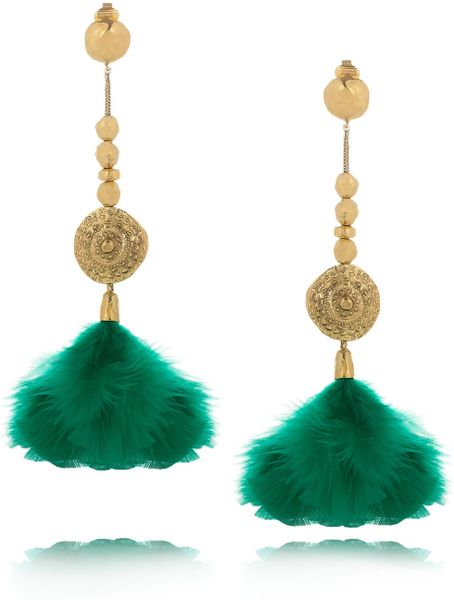 Aurelie Bidermann Cités Dor 18karat Goldplated Feather Clip Earrings in Gold - Lyst