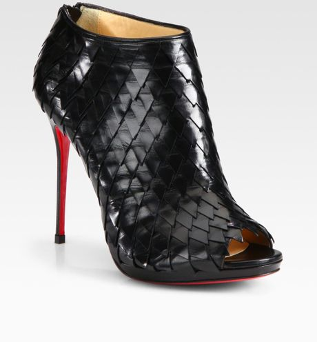 Christian Louboutin Leather Platform Ankle Boots in Black - Lyst