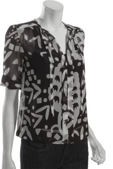 Diane Von Furstenberg Black and White Abstract Print Anne Cuffed Three Quarter Sleeve Blouse - Lyst