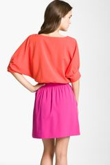 Eliza J Colorblock Dolman Sleeve Crêpe De Chine Dress in Orange (orange/ magenta) - Lyst