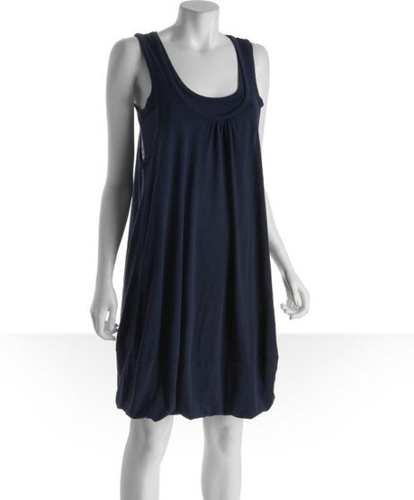 Marc By Marc Jacobs Twilight Navy Cotton Blend Layered Tank Dress in Blue (navy) - Lyst
