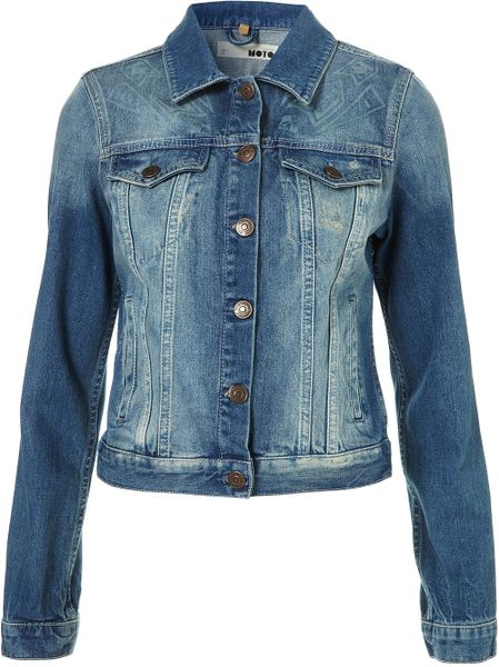 Moto Moto Aztec Burnout Denim Jacket in Blue (mid stone)