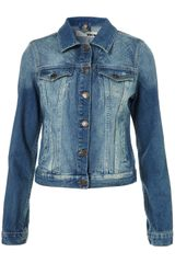 Moto Moto Aztec Burnout Denim Jacket in Blue (mid stone) - Lyst