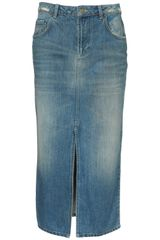Moto Moto Vintage Midi Denim Skirt in Blue (mid stone) - Lyst