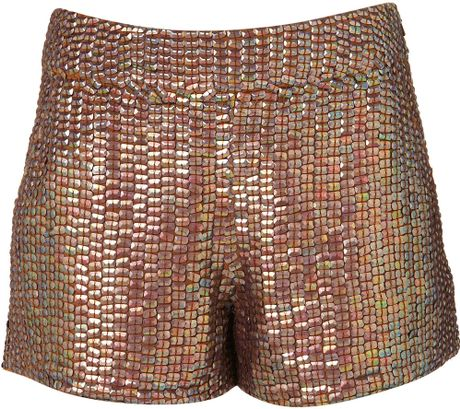 Topshop Premium Sequin Shorts in Brown (copper) - Lyst