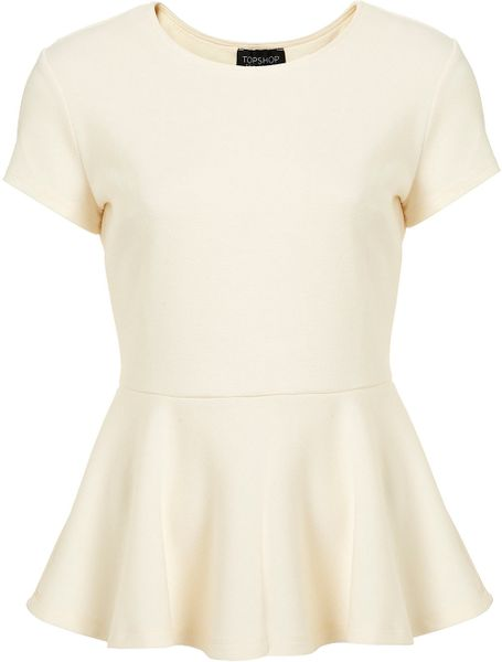 Topshop Ponte Peplum Top in Beige (cream)