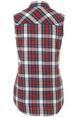 Topshop Sleeveless Checked Shirt in Multicolor (multi) - Lyst