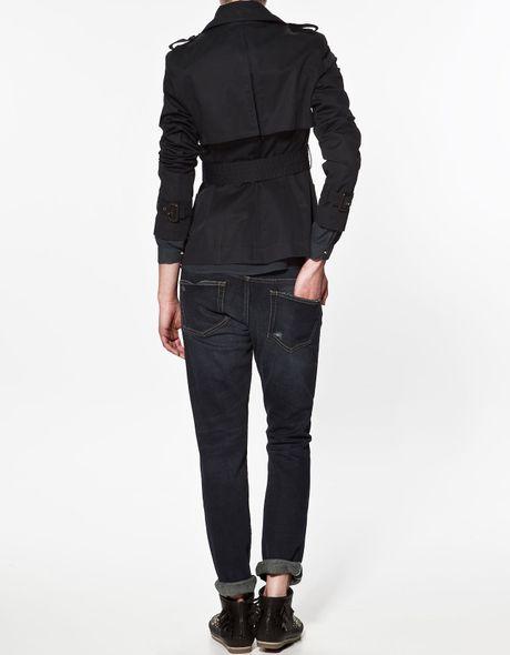 Zara Short Yoke Trench Coat In Blue Navy Lyst