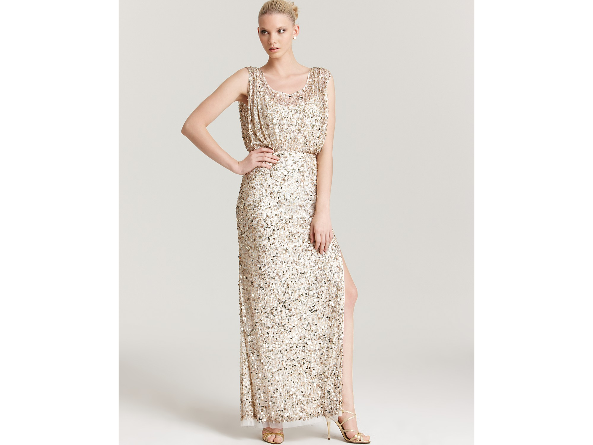Aidan mattox Beaded Gown in Metallic | Lyst
