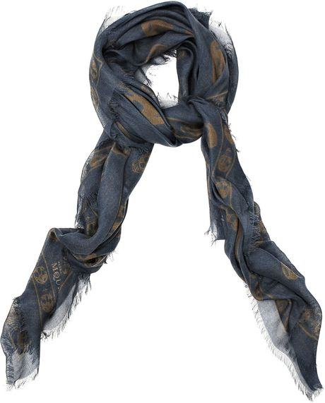 Alexander Mcqueen Cashmere Blend Pashmina Skull Scarf in Blue for Men  Cashmere Pashmina Scarves