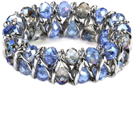 Anne Klein Imitation Rhodium Tone Blue Glass Beaded Stretch Bracelet in Blue - Lyst