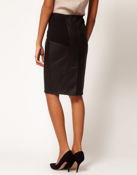 asos pencil skirt in leather look with ponte panels in