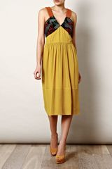 Burberry Prorsum Beaded Silk Dress in Yellow - Lyst