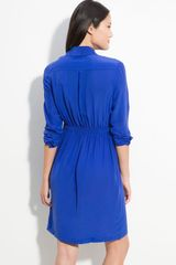 Calvin Klein Cinch Waist Shirtdress in Blue (atlantis) - Lyst