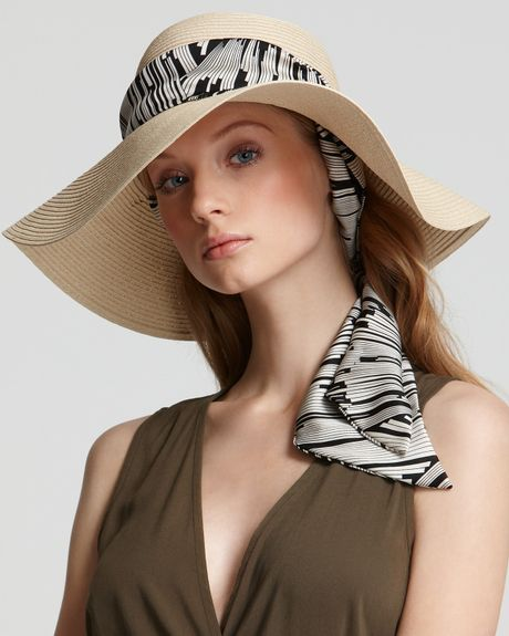 Eci Eugenia Kim Cecily Removeable Scarf Hat in Beige (ivory black stripe) - Lyst