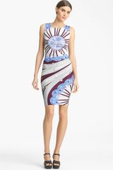 Emilio Pucci Ruched Silk Jersey Dress - Lyst
