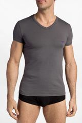 Emporio Armani Stretch Cotton Vneck Tshirt - Lyst
