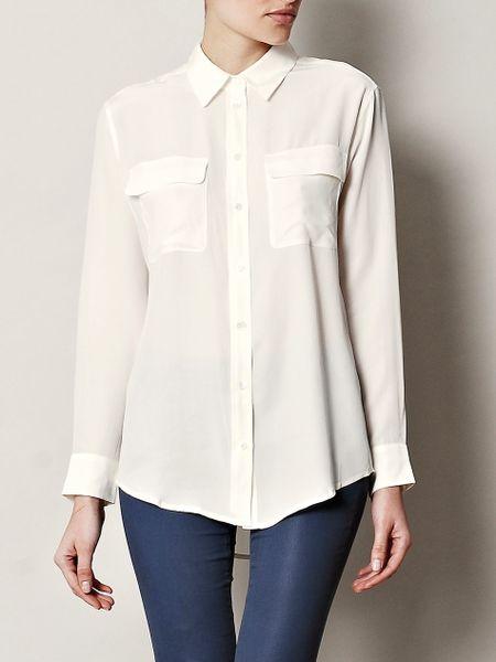 Equipment signature silk blouse in white lyst for Equipment signature silk shirt