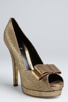 Fendi Gold Brocade Platform Peep Toe Pumps - Lyst