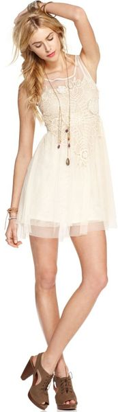 Free People Sleeveless Scoopneck Crochet Aline in Beige