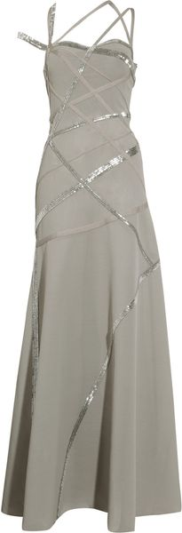 Hervé Léger Beaded Multistrap Gown in Gray - Lyst