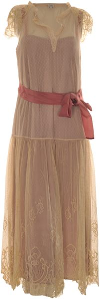Hoss Intropia Ivory Lace Dress with Pink Ribbon in Beige (ivory) - Lyst