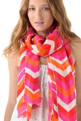 Juicy Couture Chevron Striped Linen Scarf - Lyst