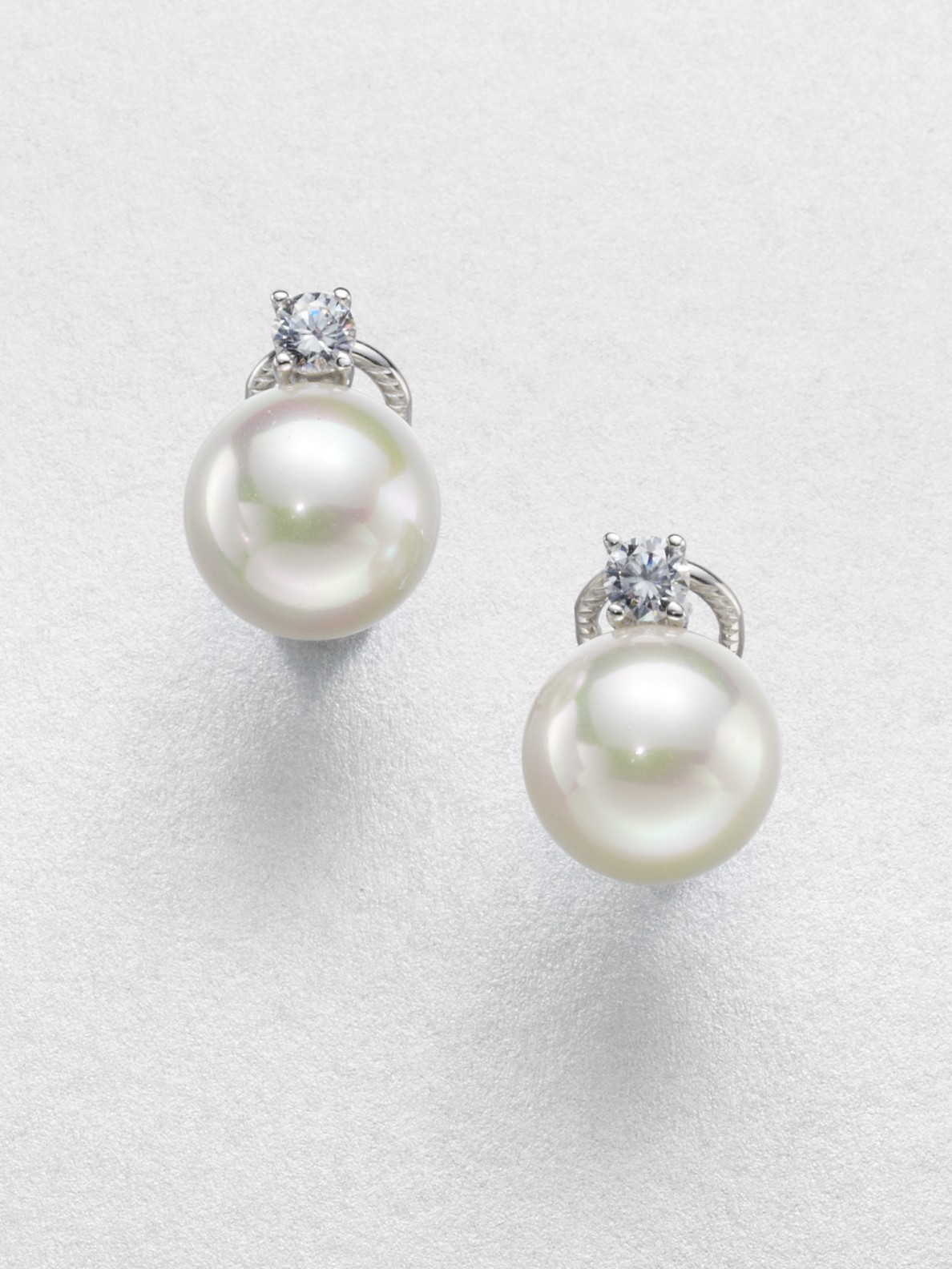 Majorica Crystal Accented 16mm Round White Pearl Earrings