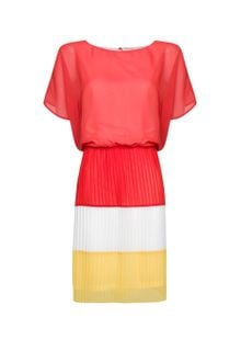 Mango Pleated Color Block Dress - Lyst