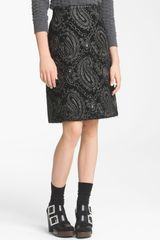 Marc Jacobs Metallic Paisley Jacquard Pencil Skirt - Lyst