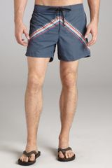 McQ by Alexander McQueen Danube Blue Chevron Nylon Swim Trunks - Lyst