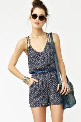Nasty Gal Sweet Blossom Romper in Blue (navy) - Lyst
