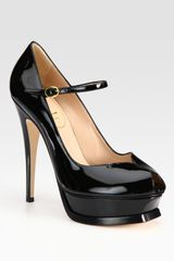 Yves Saint Laurent Patent Leather Mary Jane Platform Pumps